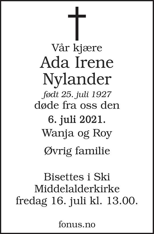 Ada Irene Nylander Dødsannonse