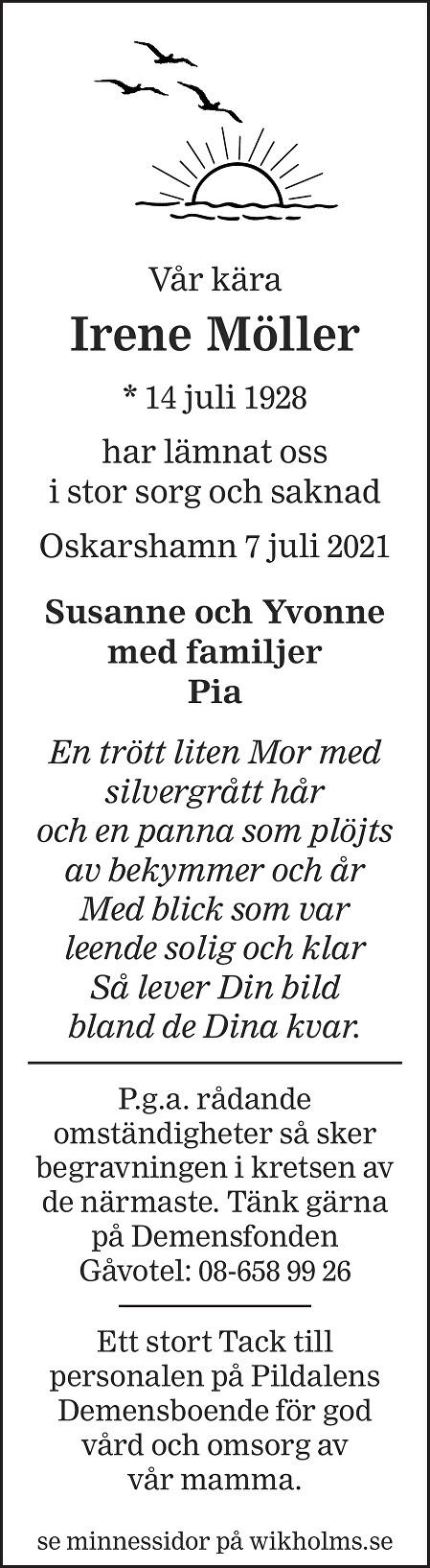 Irene Möller Death notice