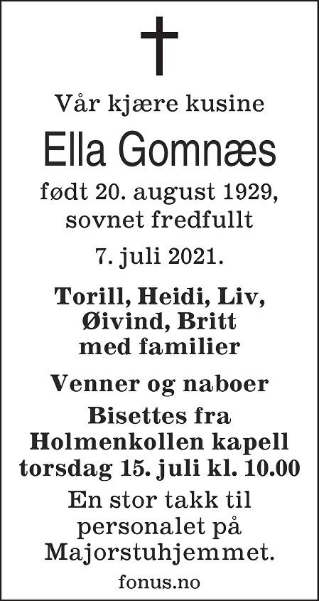 Ella Gomnæs Dødsannonse