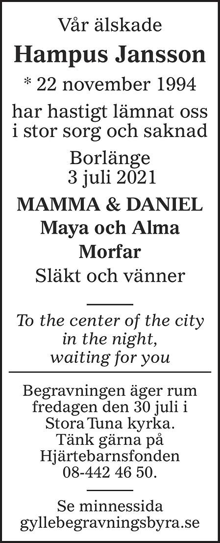 Hampus Jansson Death notice