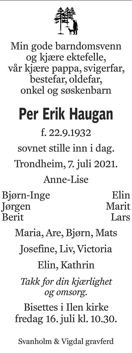 Per Erik Haugan Dødsannonse