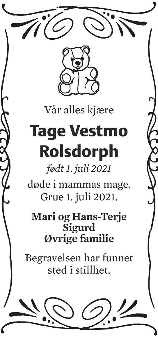 Tage Vestmo Rolsdorph Dødsannonse