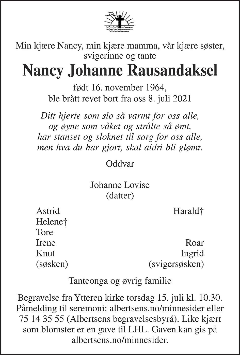 Nancy Johanne Rausandaksel Dødsannonse