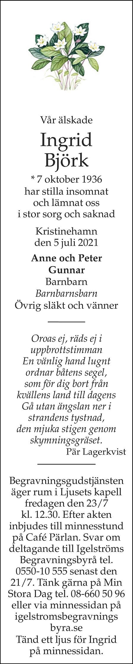 Ingrid Björk Death notice