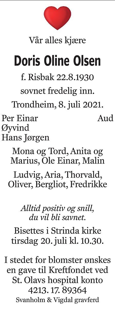 Doris Oline Olsen Dødsannonse