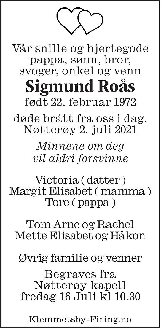 Sigmund Roås Dødsannonse