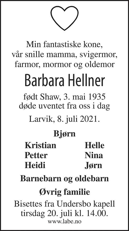Barbara Suzann Hellner Dødsannonse