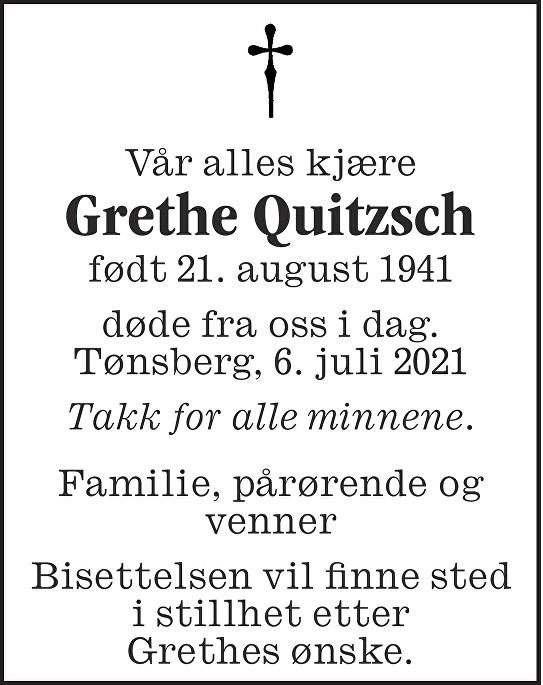 Grethe Quitzsh Dødsannonse