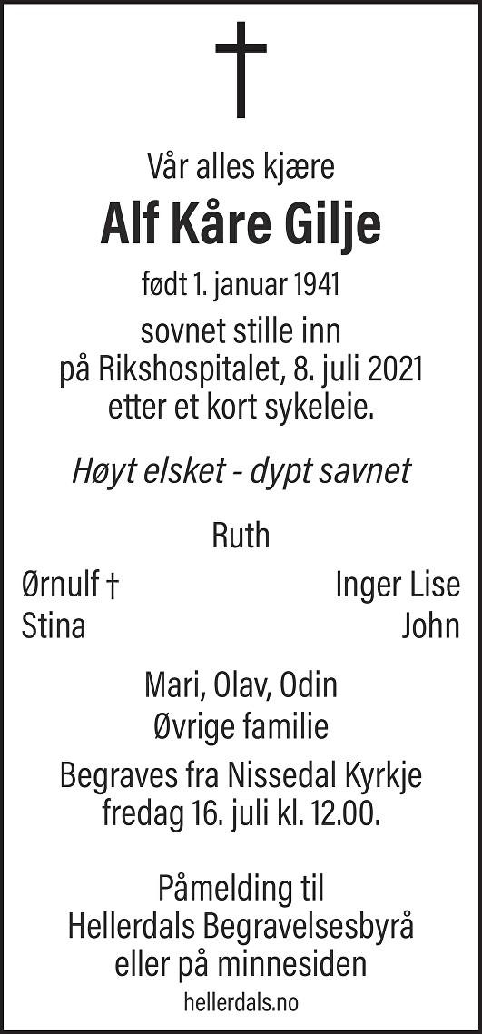 Alf Kåre Gilje Dødsannonse