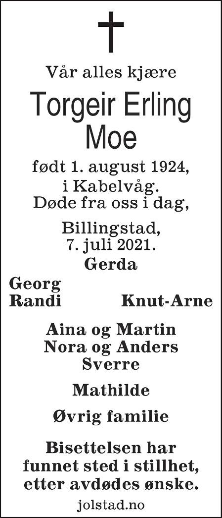 Torgeir Erling Moe Dødsannonse