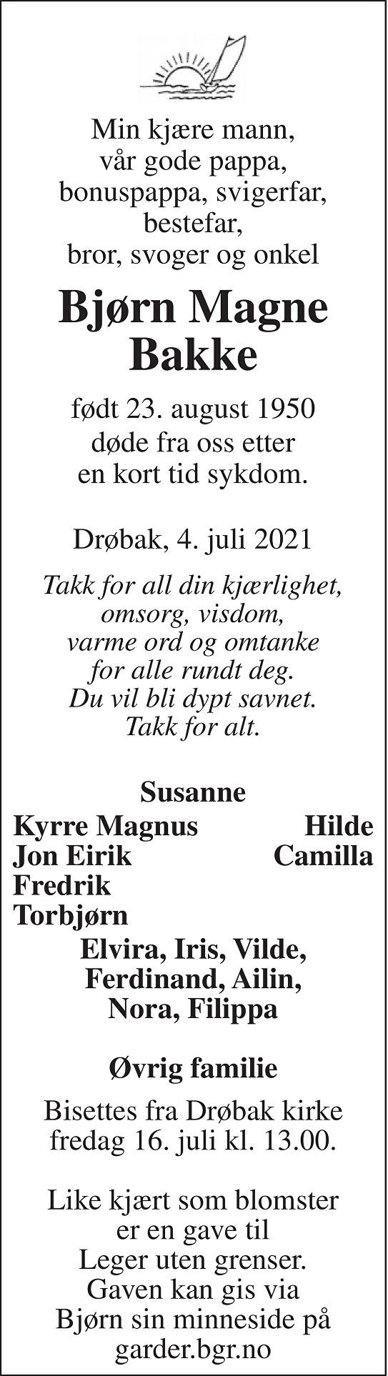 Bjørn Magne Bakke Dødsannonse