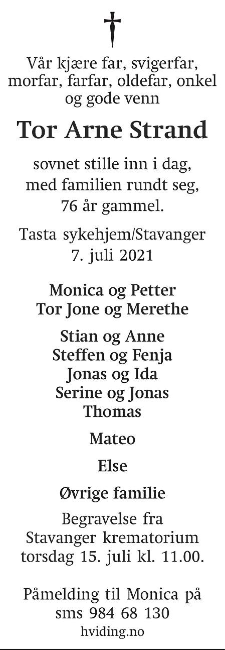 Tor Arne Strand Dødsannonse