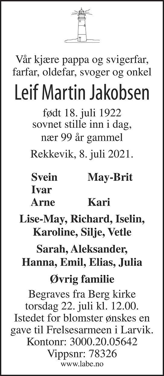 Leif Martin Jakobsen Dødsannonse