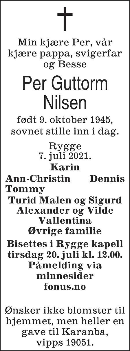 Per Guttorm Nilsen Dødsannonse