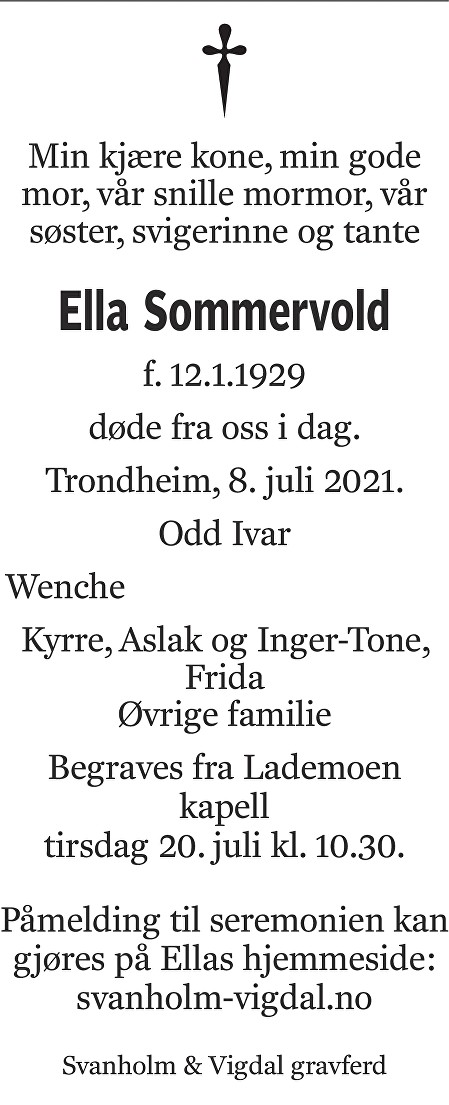 Ella Sommervold Dødsannonse