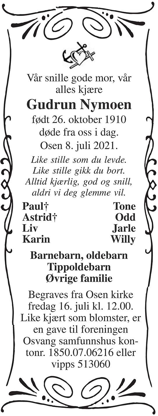Gudrun Nymoen Dødsannonse