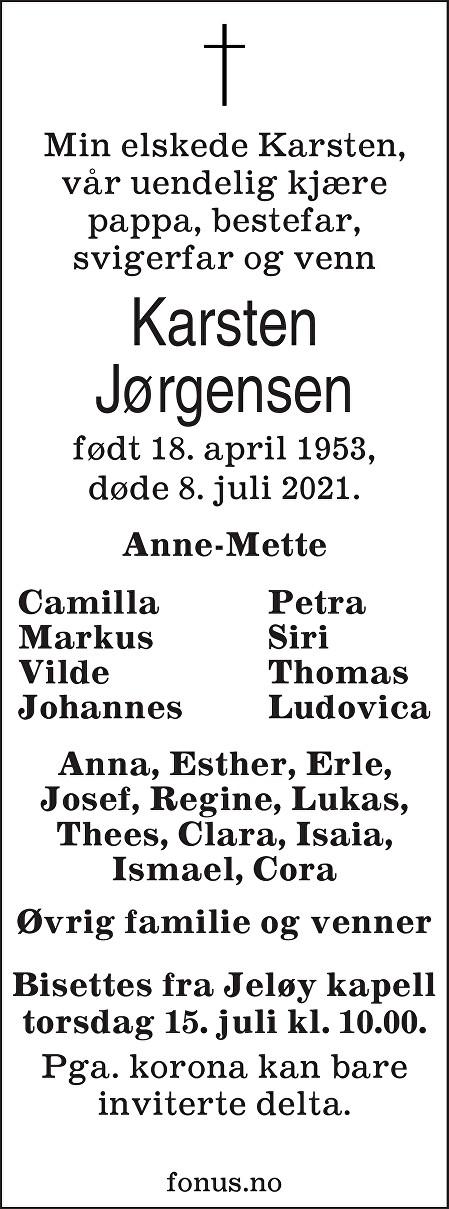 Karsten Jørgensen Dødsannonse