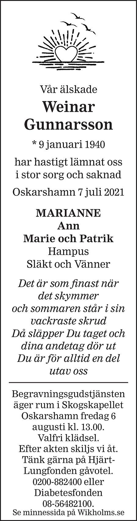Weinar Gunnarsson Death notice