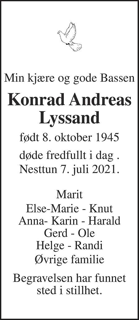 Konrad Andreas Lyssand Dødsannonse