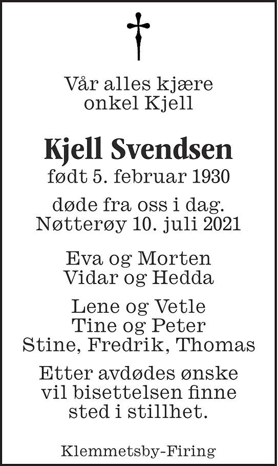 Kjell Svendsen Dødsannonse