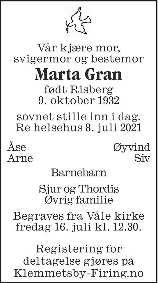 Marta Gran Dødsannonse