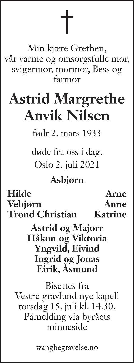 Astrid Margrethe Anvik Nilsen Dødsannonse