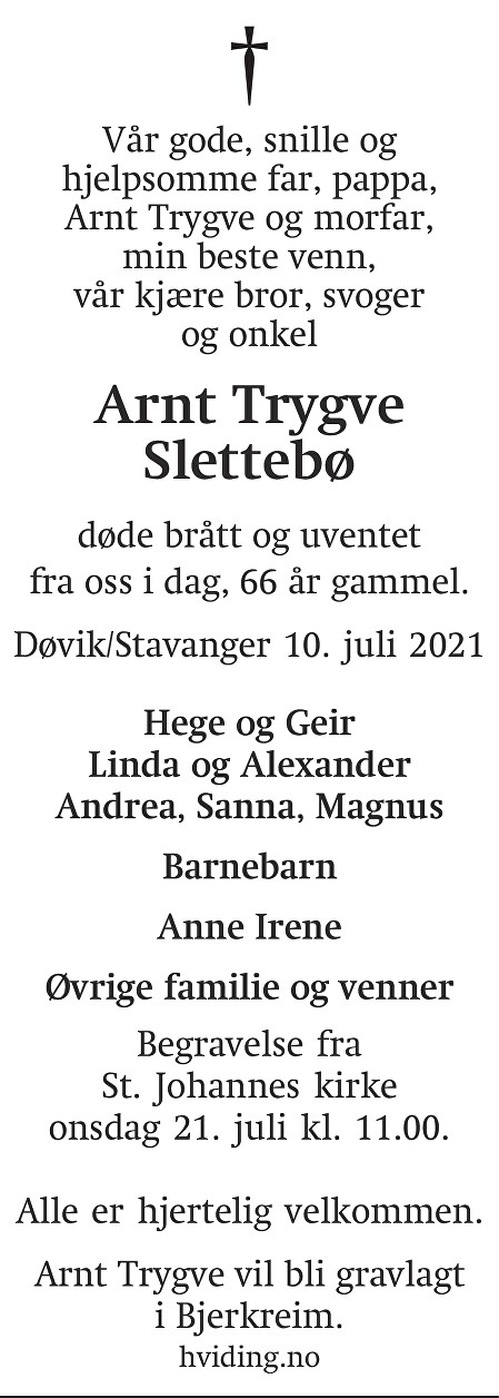 Arnt Trygve Slettebø Dødsannonse