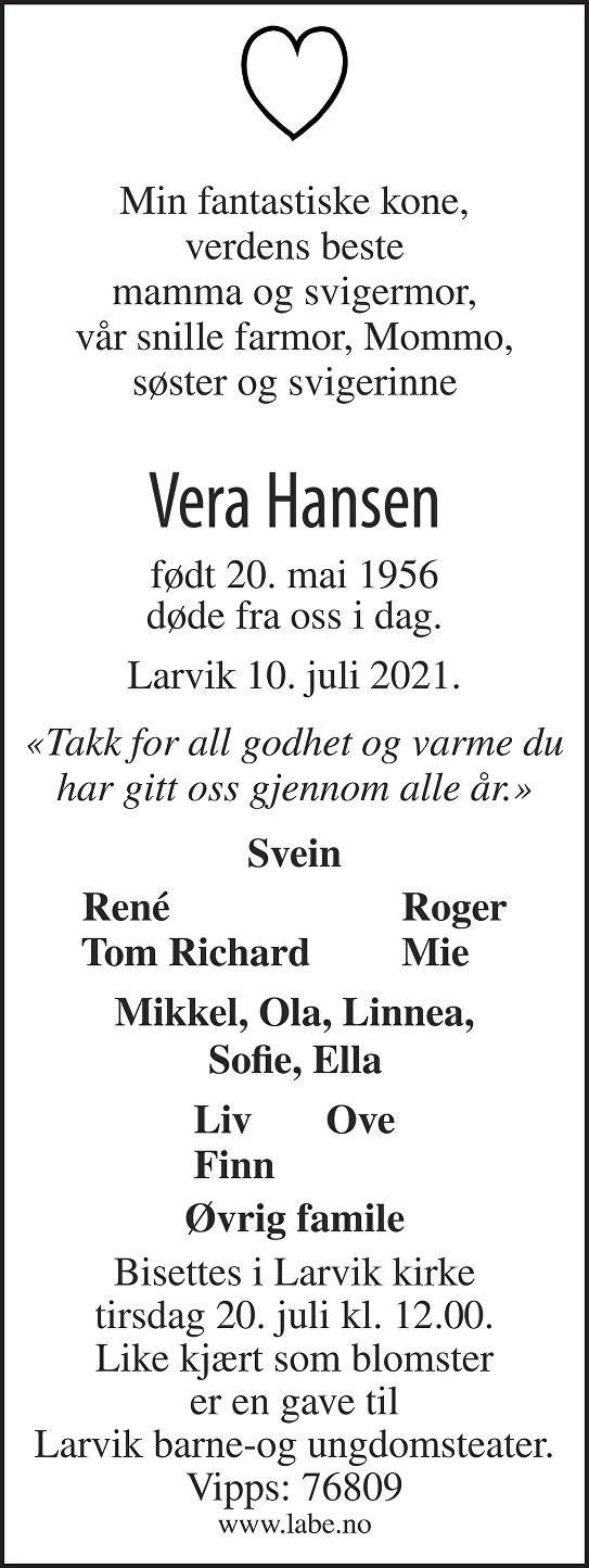 Vera Irene Mikkelsen Hansen Dødsannonse