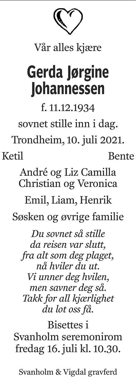 Gerda Jørgine Johannessen Dødsannonse