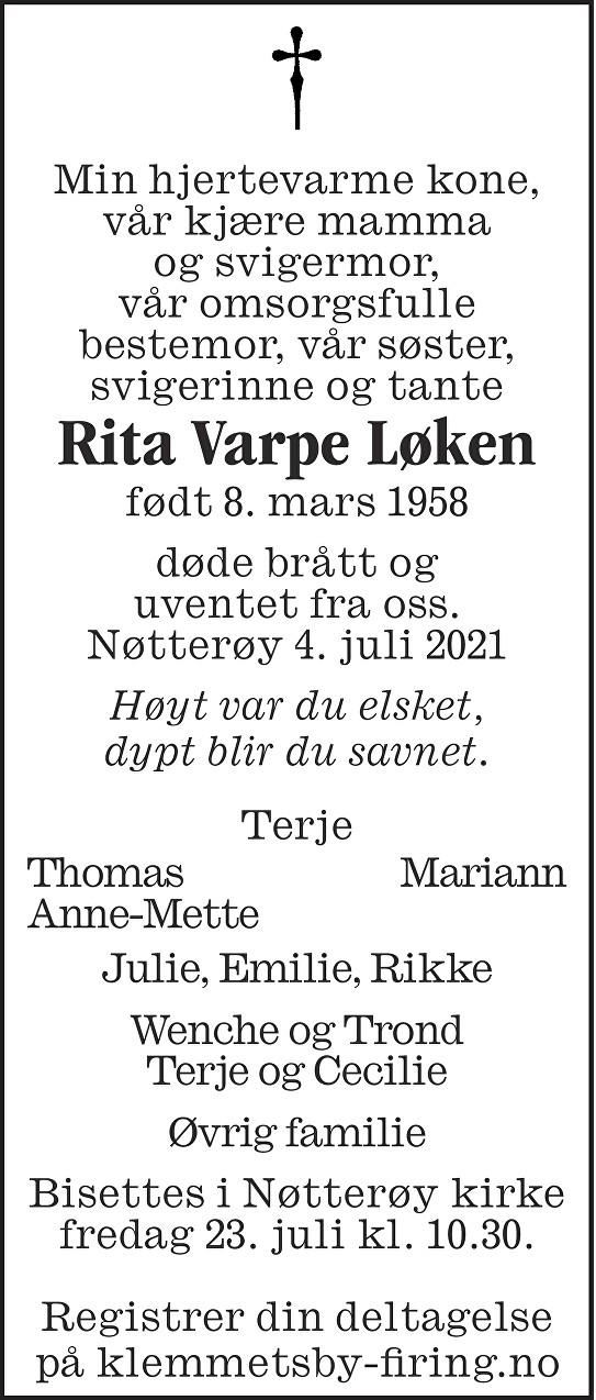 Rita Varpe Løken Dødsannonse