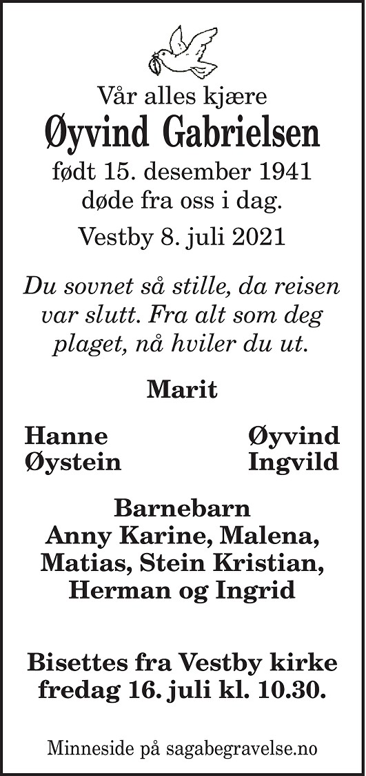 Øyvind  Gabrielsen Dødsannonse