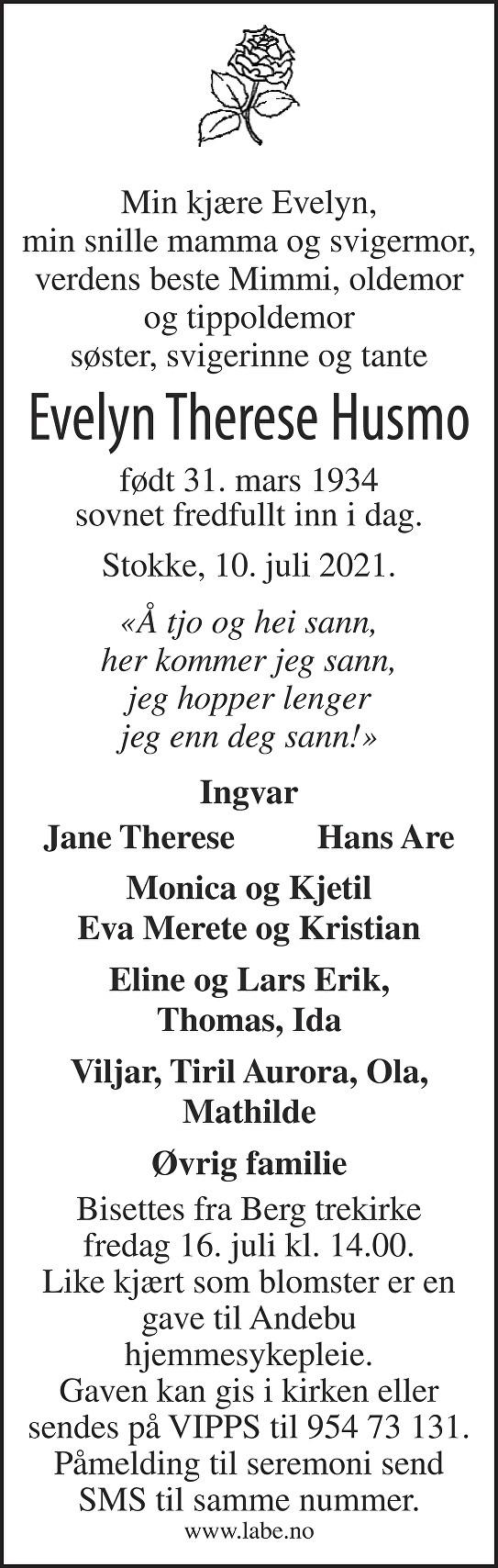 Evelyn Therese Husmo Dødsannonse