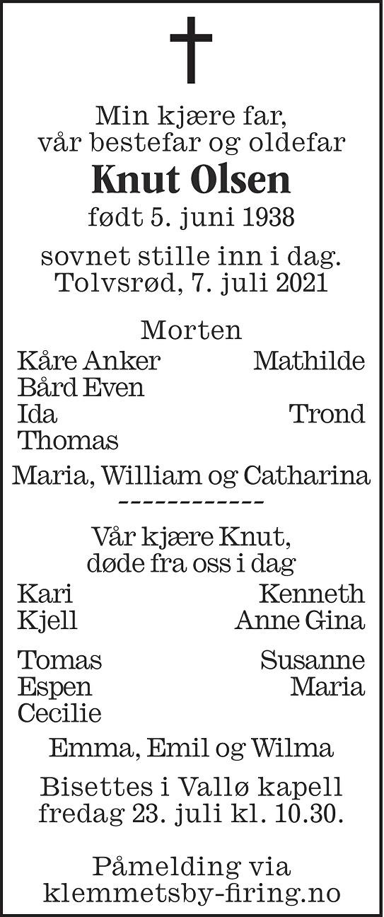 Knut Ivar Olsen Dødsannonse