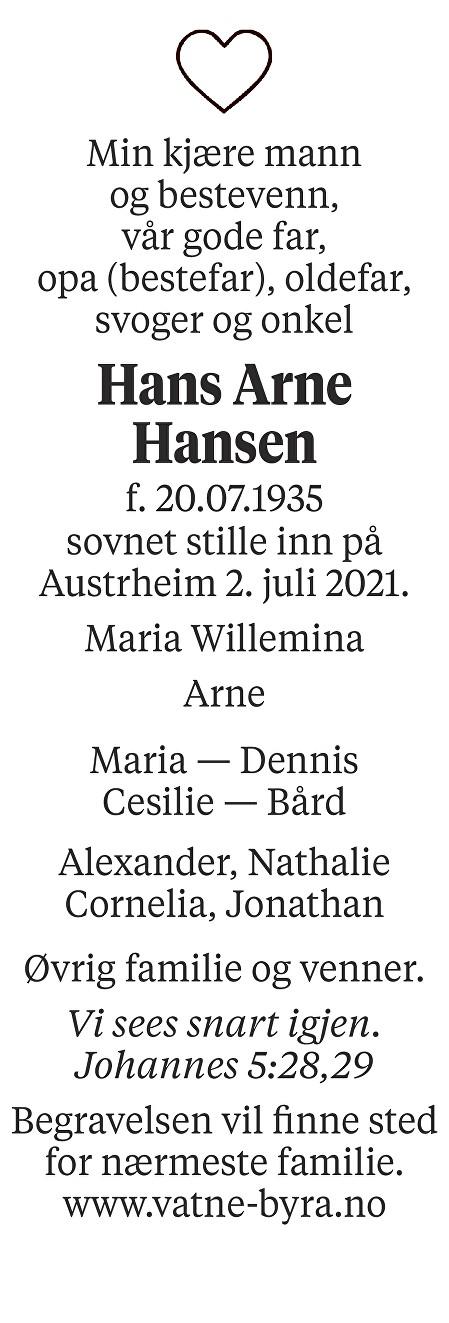 Hans Arne Hansen Dødsannonse