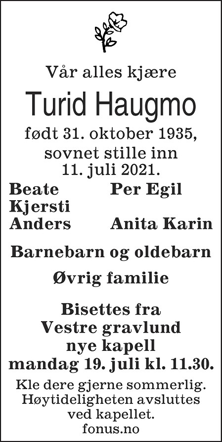 Turid Haugmo Dødsannonse