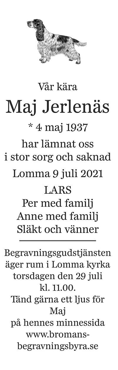 Maj Jerlenäs Death notice