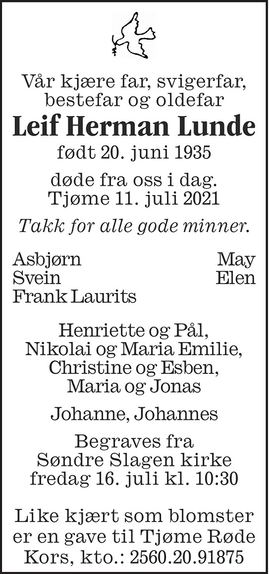 Leif Herman Lunde Dødsannonse