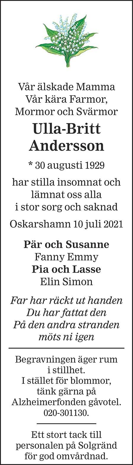Ulla-Britt Andersson Death notice