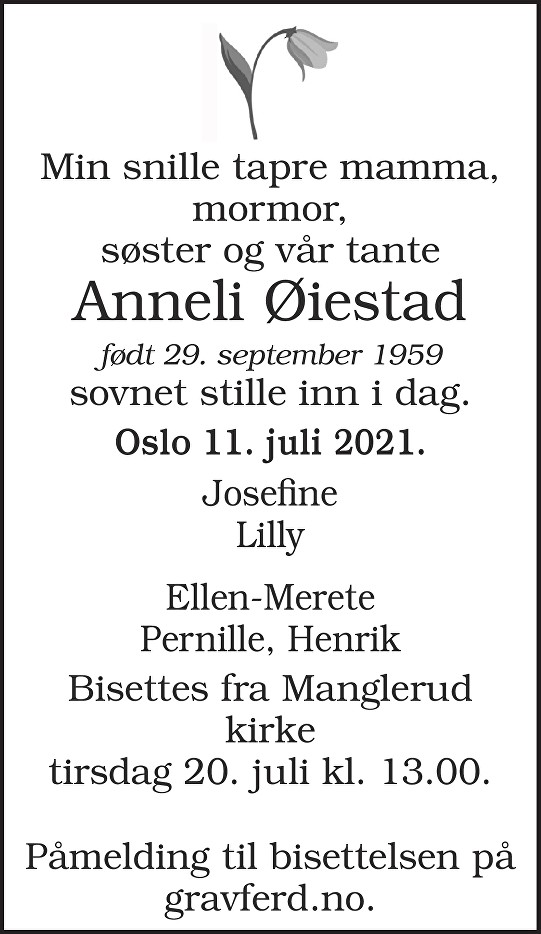 Anneli Øiestad Dødsannonse
