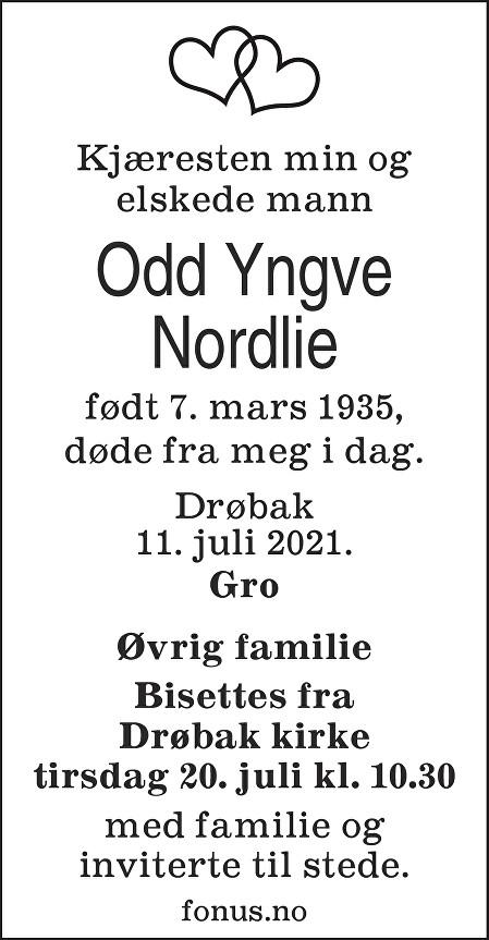 Odd Yngve Nordlie Dødsannonse