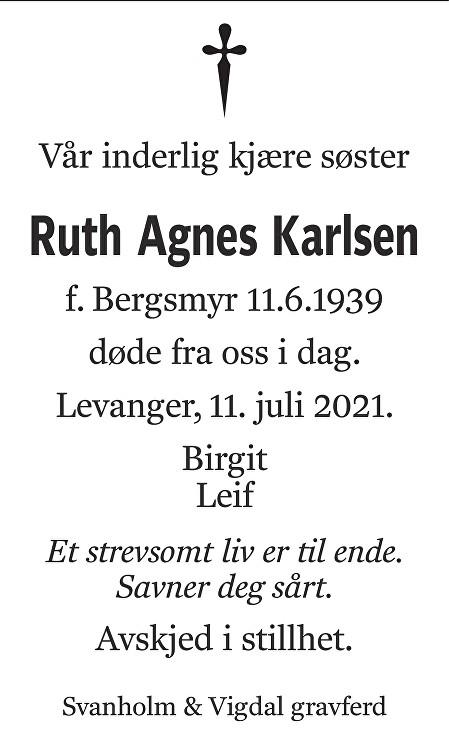 Ruth Agnes Karlsen Dødsannonse