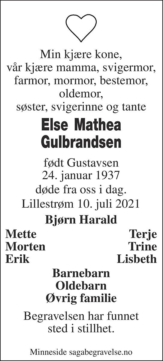 Else Mathea Gulbrandsen Dødsannonse