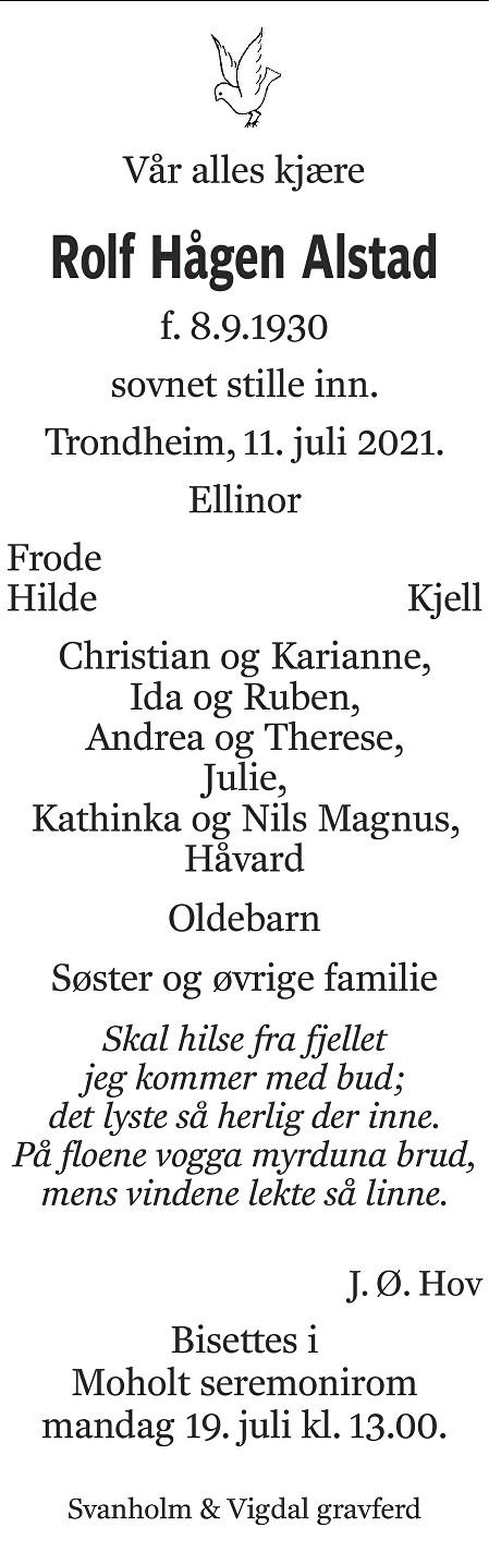 Rolf Hågen Alstad Dødsannonse