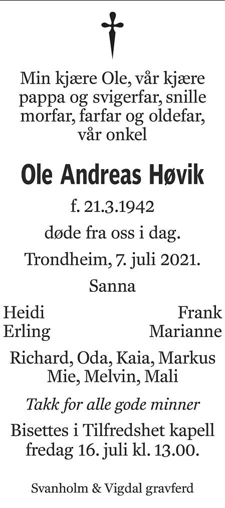 Ole Andreas Høvik Dødsannonse