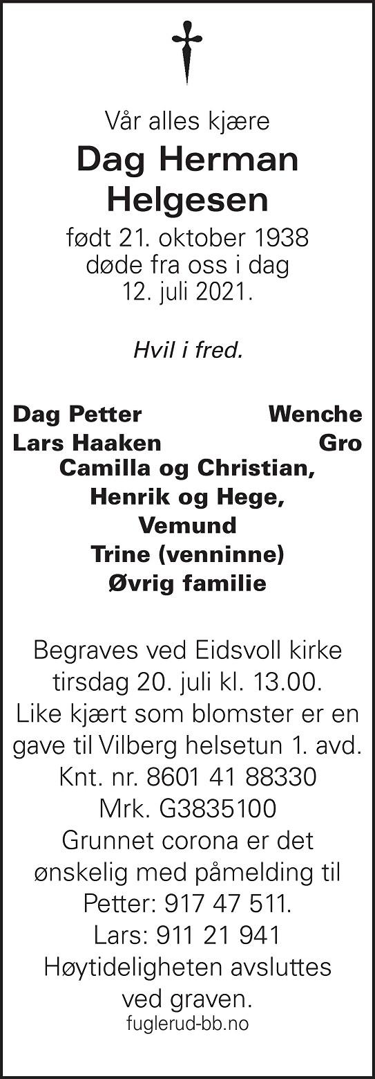 Dag Herman Helgesen Dødsannonse