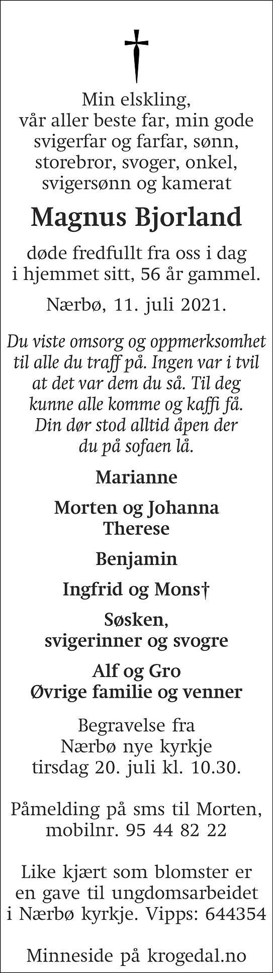 Magnus Bjorland Dødsannonse