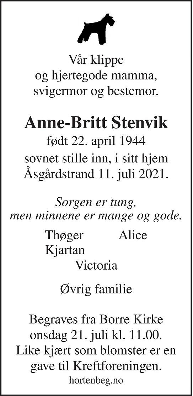 Anne-Britt Stenvik Dødsannonse