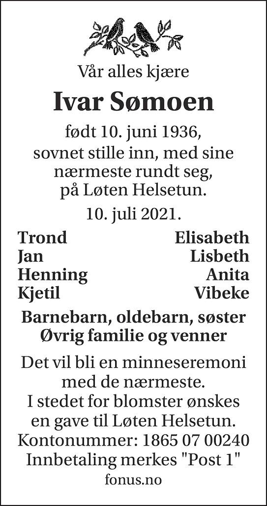 Ivar Sømoen Dødsannonse
