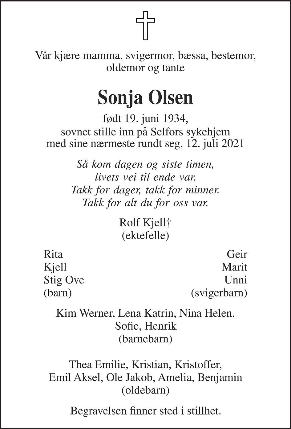 Sonja Olsen Dødsannonse