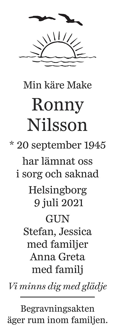 Ronny Nilsson Death notice